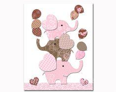 Nursery art elephant baby girl room wall decor by PinkRockBabies Baby Elephant Nursery, Elephant Theme, Elephant Baby Showers, Kids Artwork, Kids Room Art, Baby Shower Themes Neutral, Baby Shower Pictures, Girls Room Wall Decor, Kids Poster