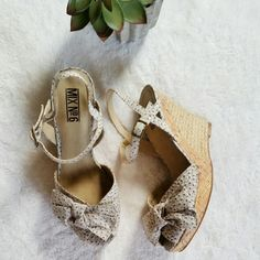 Floral Bow Espadrille Wedges Super cute floral wedges from Mix No.6. Cute bow details. Tried few times but never worn. Size 8. Platform 1 inch front heel and 4 inch back heel. Mix No.6 Shoes Espadrilles