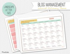 Printable BLOG Management Collection (Coloured Stationery Theme)