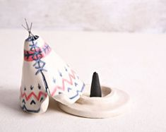 Incense Burner TeePee that smokes Ceramic Navy by JessicaHicklin