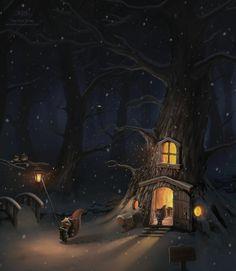 The First Snow by Christos Karapanos (fantasy art) Fable, Illustration Art, Illustrations, First Snow, Fairy Houses, Winter Scenes, Winter Wonderland, Fantasy Art, Fantasy Forest