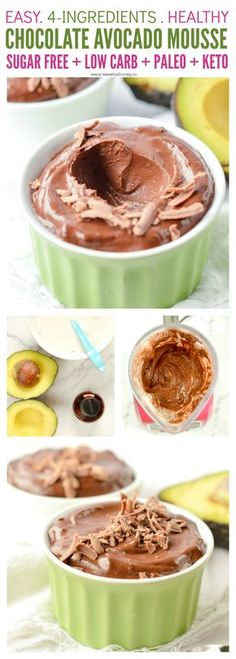 Paleo Avocado chocolate mousse is an easy and healthy 4 ingredients sugar free dessert recipe with a delicious fudgy chocolate texture. It is also vegan, low carb (3.8g net carb per serve) and gluten free. #lowcarb #avocadomousse #keto #sugarfreedessert