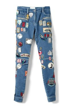 Phillip Lim Stretch Denim Skinny Patchwork Cargo Jean