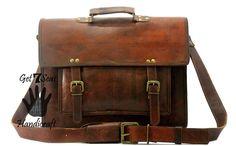 Leather computer bag men's shoulder women laptop  messenger briefcase vintage