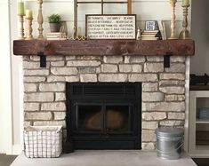 Mantel With Metal Brackets – Fireplace Mantel or – Mantle – Rustic Mantle – Floating – Barn Wood – Barn Beam – Custom Lengths – Decorating Foyer Rustic Fireplace Mantels, Farmhouse Fireplace, Home Fireplace, Fireplace Remodel, Living Room With Fireplace, Fireplace Design, Fireplace Ideas, Farmhouse Decor, Distressed Fireplace