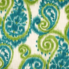 Sorista Teal Green Blue Ikat Floral Paisley Indoor Outdoor Fabric by Richloom Fabrics - - Fabric By The Yard At Discount Prices Discount Fabric Online, Buy Fabric Online, Outdoor Upholstery Fabric, Outdoor Fabric, Indoor Outdoor, Fabric Decor, Fabric Design, Lime Green Curtains, Teal Green