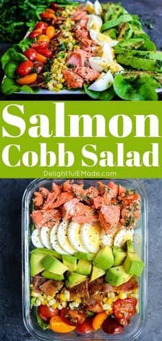 Looking for an easy meal prep salad recipe? This Grilled Salmon Salad is amazing! The perfect cobb salad recipe, this is healthy and great to pack for work! Grilled Salmon Salad, Salmon Salad Recipes, Healthy Salmon Recipes, Grilled Chicken Recipes, Lunch Recipes, Clean Recipes, Easy Healthy Meal Prep, Vegetarian Meal Prep, Lunch Meal Prep