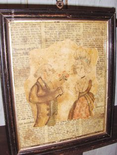 """Framed watercolor """"fragment"""" of an 18th c. couple by Steve Shelton in an early frame.  Whitehorse Antiques, Rocheport, Mo."""