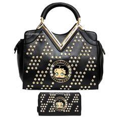 Betty Boop bling diamond rhinestones L wallet golden V shoulder bag set  handbag  BettyBoop   31e9f1303e696