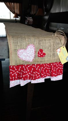 Ruffled Burlap Table runner Valentine heart by IFcraftymamma, $20.00