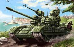 Photo wallpaper flag, soldiers, tank, machine gun, T-55, Russia, the city