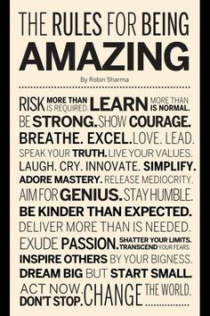 Rules for being amazing.