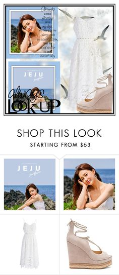 """Dream Life"" by fancysid ❤ liked on Polyvore featuring Ciel, chuu, Chicwish, Sam Edelman, Wedges, dress, Sky and clouds"