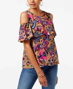 ec5ad0a68cefd INC International Concepts Petite Cotton Printed Cold-Shoulder Ruffled Top