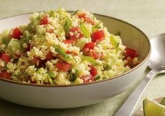"""Millet Tabbouleh with Cilantro and Lime.(omit the oil for """"Eat to Live;"""" it's not needed anyway!) Just about any grain can be used to make a version of Tabbouleh. Lime Recipes Vegetarian, Vegetarian Times, Vegan Vegetarian, Vegan Recipes, Millet Recipes, Couscous Recipes, Salad Recipes, Grain Foods, Vegan Foods"""