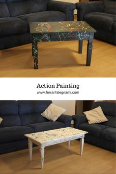 Tavolino in Action Painting € 420  #actionpainting #colors #pollock