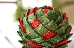Pinecone ornament pattern   Folded fabric pine cone ornament   How to make a quilted pinecone ornament