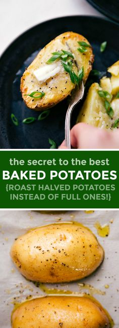 THE secret to perfect baked potatoes in a fraction of the time: cutting them in half! That's right, we roast potato halves instead of full potatoes. Bar Recipes, Side Dish Recipes, Clean Recipes, Recipes Dinner, Veggie Recipes, Seafood Recipes, Cooking Recipes, Healthy Recipes, Clean Foods