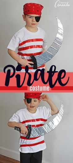 Pirate Costume: Make your own Halloween costume from duct tape Make a quick and easy pirate costume from regular street clothes and duct tape! This DIY pirate costume if fun to make and a budget friendly Halloween costume choice! Pirate Costume Couple, Diy Pirate Costume For Kids, Homemade Pirate Costumes, Female Pirate Costume, Pirate Halloween Costumes, Boy Costumes, Pirate Crafts, Minion Costumes, Halloween Outfits