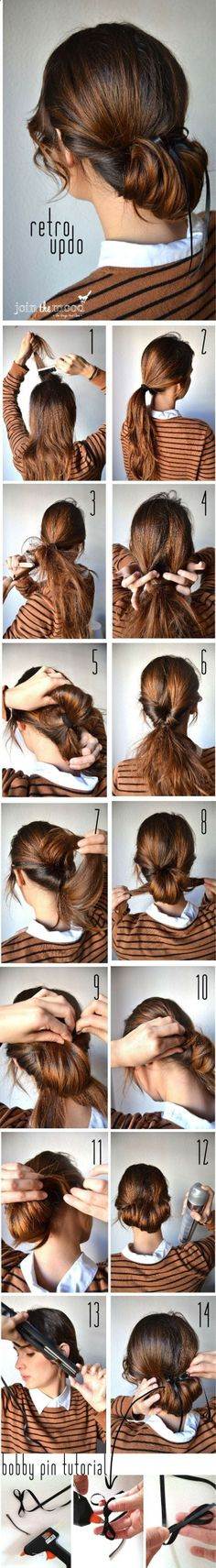 Retro Updos Tutorial: Step by Step Hairstyles for Long Hair - this bun looks so much easier that the others Ive seen