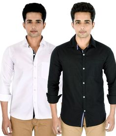 Black Bird Combo of White & Black Shirts - http://weddingcollections.co.in/product/black-bird-combo-white-black-shirts/