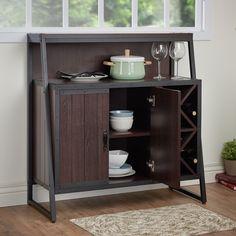 Furniture of America Rochulls Industrial Walnut Multi-storage Dining Server