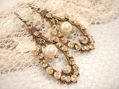Antique brass vintage style earrings wedding by treasures570, $43.00