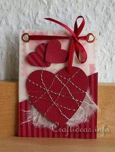 Valentine's Day ATC - Red Hearts Artist Trading Card 350