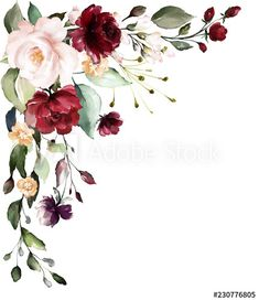 floral illustration, Leaf and buds. Botanic composition for wedding, greeting card. branch of flowers - abstraction roses - Buy this stock illustration and explore similar illustrations at Adobe Stock Watercolor Cards, Watercolor Flowers, Watercolor Paintings, Flower Graphic Design, Decoupage Vintage, Burgundy Flowers, Flower Clipart, Wedding Background, Floral Border