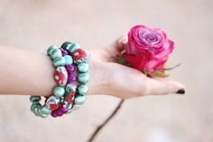 Floral and Green Bracelets Stack  Statement by TealAndMagenta, $17.20