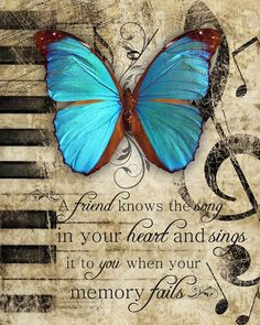 "FRIEND SONG inspirational friendship friend poem and butterfly art print, 8"" x 10"", great gift idea"