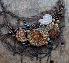 ANCIENTRY Fossil Ammonites Wire Crocheted Statement OOAK Bib Necklace. Made to order.