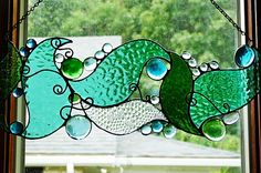 Whimsical Under the Sea Stained Glass Panel by miloglass on Etsy