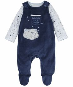 Mothercare Bear Velour Dungaree Set