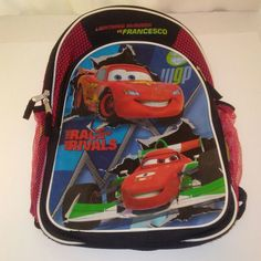 9689d5d21a Disney s Cars 2 The Race of the Rivals Boys Red and Black Back Pack with  Hood 16