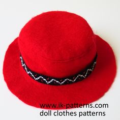 Easy Felt Hat Pattern for 18 inch American Girl doll. 18 inch doll clothes patterns #ikpatterns