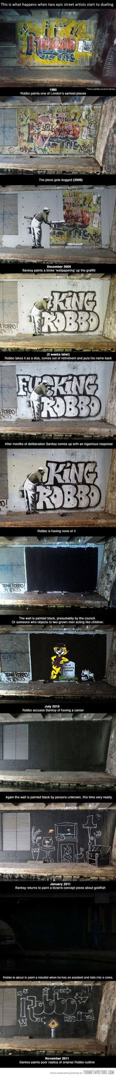 Graffiti War Robbo vs Banksy. I love my banksy :)