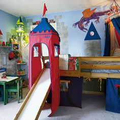 fun castle room for kids...  Who wouldn't love to get out of bed via slide?!