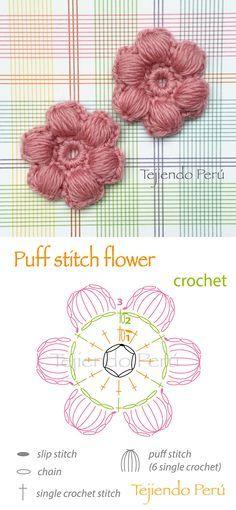 Discover thousands of images about Crochet: puff stitch flower diagram! Crochet Diy, Crochet Motifs, Crochet Diagram, Crochet Chart, Love Crochet, Irish Crochet, Crochet Puff Flower, Crochet Flower Patterns, Crochet Stitches Patterns