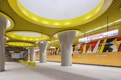 Completed in 2015 in Warsaw, Poland. Images by Bartosz Makowski. Metro Line II is the most important investment of polish capital in recent years. It will connect Brodno with Bemowo, Stadion Narodowy (National. Estudio Lamela, Warsaw, Interior Architecture, Line, Projects, Furniture, Design, Color Theory, Home Decor