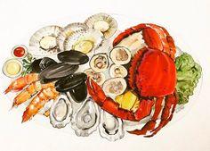 YooJin Guak Illustration    Seafood Platter