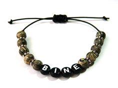 Armbänder - Namens-Armband gestreifte…