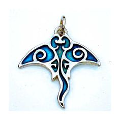 Silver Manta Ray tattoo design with a blue patina ($51) ❤ liked on Polyvore featuring accessories