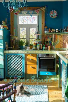 Colorful kitchen in petrol turquoise green shades of   # colorful # shades of green