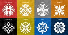 Game of Thrones/A Song of Ice and Fire Snowflakes! Can't take credit for these, found them on Reddit, but I know what I'm doing this weekend!
