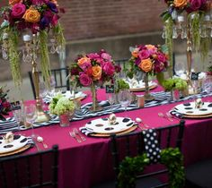 Pink, Black & White Polka Dot Reception Tablescape - Love in Spades: A Kate Spade-Inspired Urban Alley Style Shoot Wedding Reception Decorations, Table Decorations, Centerpieces, Wedding Ideas, Wedding Coordinator, Boho, Event Decor, Bridal Shower, Dream Wedding