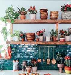 I adore those wood bowls and green tile