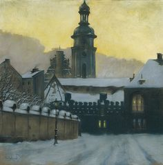 Odo Dobrowolski (Polish, 1883-1917), Winter Evening in Lviv, 1912. Pastel on paper, 99 x 99cm.