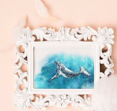 Art print_drawing_animal_handmade  Whale by JameslimARTstudio