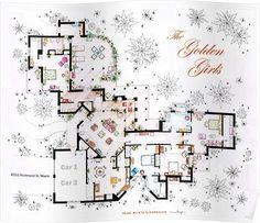 The Golden Girls house floorplan. For my golden girls and I! The Golden Girls, Golden Girls House, Floor Plan Sketch, Floor Plan Drawing, House Drawing, Film Home, Home Tv, Apartment Floor Plans, House Floor Plans